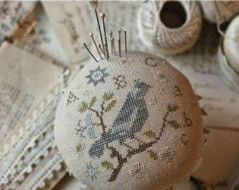 WITH THY NEEDLE Pin Feathers pinkeep counted cross stitch patterns at thecottageneedle.com