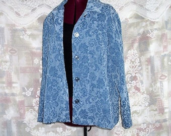 Plus Size Blue Tapestry Jacket.Baroque Floral Jacket #KheGreen