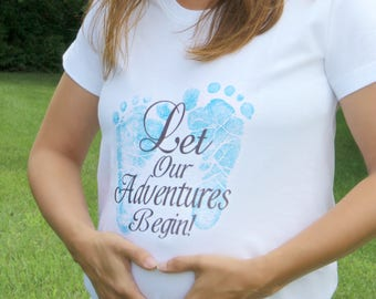 Maternity Top Shirt Maternity Clothing Pregnancy Shirt Pregnancy Top Maternity Clothes Maternity T-Shirt Let our adventures begin Baby Bump