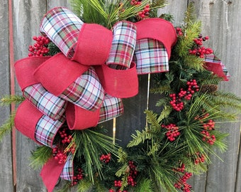 Christmas Wreath Holiday Wreath Burlap Berry Wreath Greenery Tartan Plaid Burlap Winter Wonderland