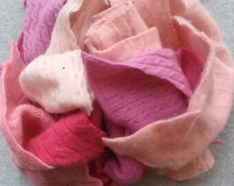 Cashmere Recycled Remnants Cable Knit- Light and Hot to Dark Pink - for DIY Crafts and Projects  - 16 oz. Bundle