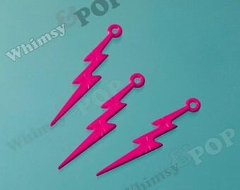 Dark Pink Acrylic Lightning Bolt Charms, Lightning Charm Pendant, 45mm x 9mm (C2-08)