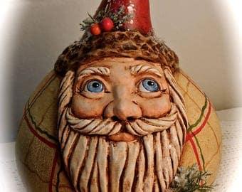 Primitive Victorian Folk Art Gourd Santa