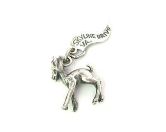 Deer Charm Pendant. Sterling Silver Fawn. Skyline Drive, VA Pennant Tag. Signed Pacific Jewelry JP. Vintage 1960s Travel Souvenir
