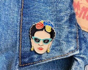 Frida Sunglasses, Frida Kahlo Pin, Soft Enamel Pin, Jewelry, Art, Artist, Gift (PIN67)