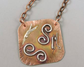 Copper & Sterling Silver Necklace, Copper Jewelry, Metalwork Copper, Mixed Metal Necklace, Copper Necklace, #186