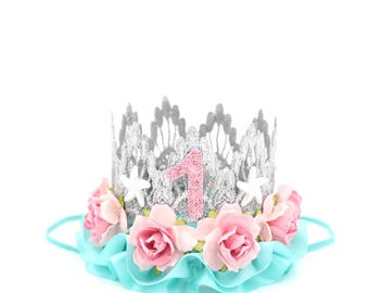 Mermaid flower birthday crown with starfish || silver + pink + aqua || customize any age || photography prop || Ready to Ship