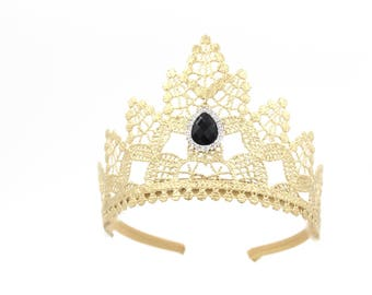NEW gold princess lace TIARA with black crystal jewel || Heavenly || Ready to Ship