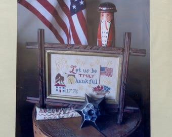Cross Stitch Pattern | LET Us Be Truly THANKFUL | Americana | Heartstring Samplery | Counted Cross Stitch Pattern