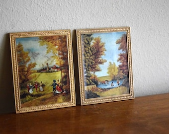 Vintage Petite Princess 1960s Dollhouse Framed Pictures - Miniatures, Fairy House, Mid Century Modern