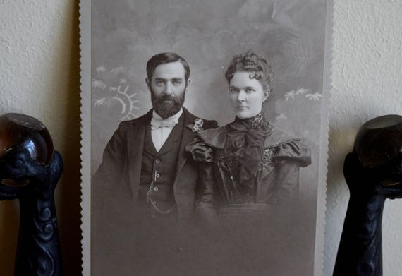 Antique photograph of an attractive couple - Victorian, Shabby Chic, Cottage, Farmhouse,