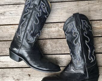 10 D | Men's Dan Post Eel Skin Black Western Cowboy Boots