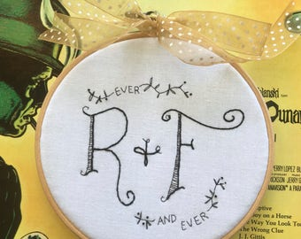 hand embroidered monogram | custom monogram embroidery |  wedding engagement gift | wedding gift