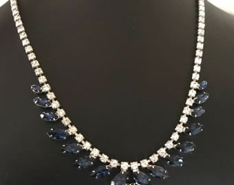 Elegant Clear and Sapphire Blue Rhinestone Adjustable Collar Necklace
