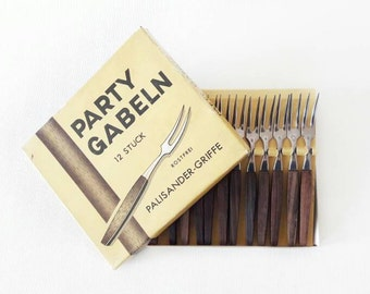12 Mid Century Mini Appetizer Forks Rosewood and Stainless Steel in Original Packaging Set