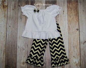 Saints Boutique Outfit / Shirt + Ruffle Pants / Black & Gold / Geaux Saints / Who Dat / Football / Newborn / Infant / Baby / Girl / Toddler
