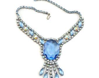 Vintage D&E JULIANA Sparkling Huge Blue Stone Rhinestone Bib Necklace.......  Book Piece