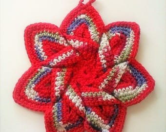 Star Flower Potholder - Field of Dreams - 100% Cotton, Ecofriendly, Re-usable, Reversible