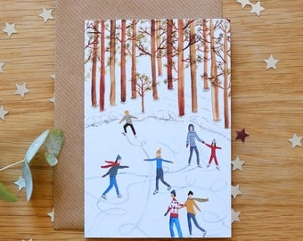 Ice skaters Illustrated Christmas Card