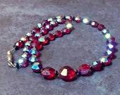 Vintage Mid Century Garnet Red Aurora Borealis necklace