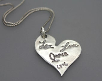 Handwriting Jewelry, Actual Handwriting Necklace, Signature Jewelry, Actual Signature Necklace, Personalized Gift For Her, Silver Heart