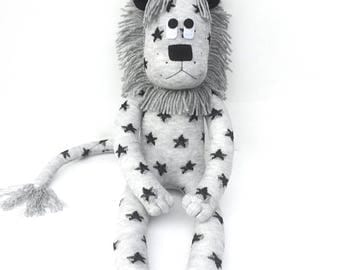 Lance the Sock Lion - grey with black stars - READY TO SHIP