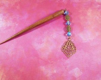 Belle Epoque - blue Czech glass and gold brass Art Nouveau hair stick