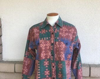 Vintage Western Shirt 1980s Womens Southwestern Shirt in Mauve and Blue Size M-L