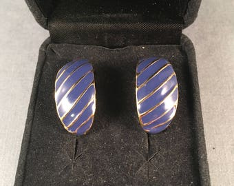 Vintage Dark Blue and Gold Clip on Earrings, Gold Stripped Blue Clip on Earrings 1 Inch Long .5 Inches Wide