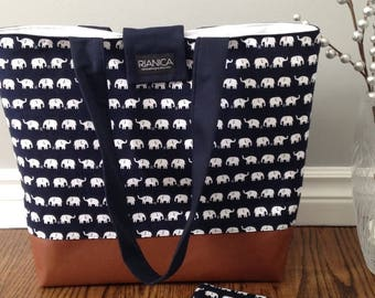 Little White Elephants Fabric Diaper Bag/Tote Bag
