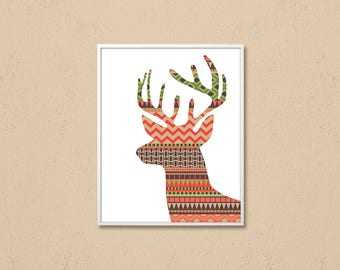 Deer digital, Deer silhouette, Deer Head Wall art, deer printable, modern art, deer wall decor, Printable Deer art, color stripes Print