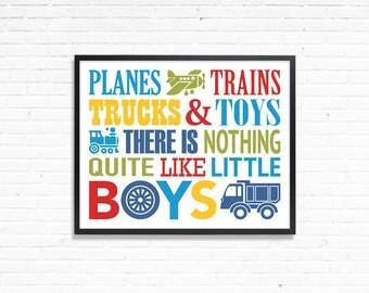 Planes trains trucks and toys, planes trains print, baby boy room, Printable Boys room art, toy room wall art, kids wall art, playroom print