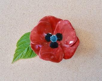 Red poppy ornament - Ceramic flower - Handmade earthenware flower -