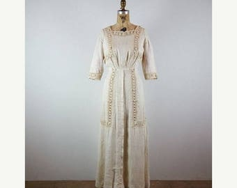 CLEARANCE SALE sensis | vintage edwardian maxi dress | vtg lace maxi dress | extra small/xs
