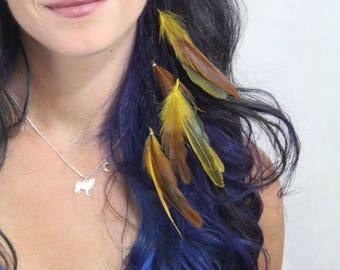 Yellow Feather Hair Extension - Feather Extension Clip In - Hair Feathers