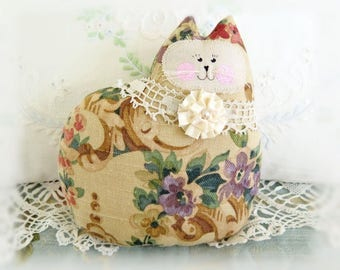 Cat Pillow Doll, Cloth Doll 7 inchs, Floral Home Decor Fabric Kitty Soft Sculpture Handmade CharlotteStyle Decorative Folk Art