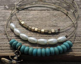 Expandable Beaded Bangle Bracelets- copper bee set of 3- adjustable bangle, stacking bracelets