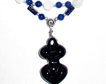 Thirteen Moon Goddess necklace--Lapis Lazuli, Moonstone, & Blue Goldstone