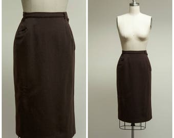 Vintage 50s Skirt • Classic Casual • Chocolate Brown Wool 50s Pencil Skirt Size Small
