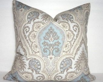 INVENTORY REDUCTION Grey Blue Tan Paisley Print Pillow Cover Decorative Pillow Flower Pillow Cover Size 18x18