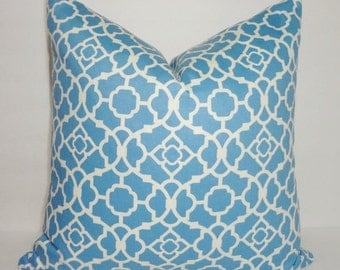 INVENTORY REDUCTION Waverly Lovely Lattice Blue & White Geometric Pillow Cover Decorative Pillow Cover Size 18x18