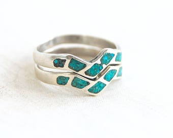 Turquoise Stacking Ring Set Vintage Zig Zag Bands Sterling Silver Blue Stone Southwest Jewelry Size 9 .75