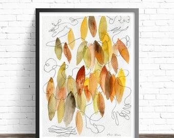 Leaf Print. Nature prints. Modern prints. Leaf Watercolor Print. Abstract watercolor print. Modern home decor wall art. Leaf wall art