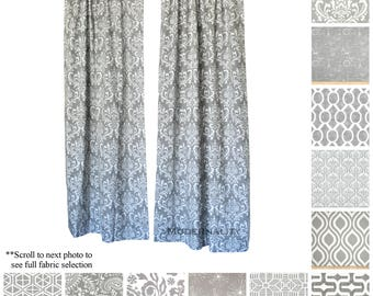 Window Curtains  Drapery Panel Pair  Storm Grey Curtains  Designer Drapes   Add Grommets