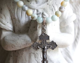 Heavenly Skies-Cross necklace Cross jewelry vintage cross stone beaded necklace blue assemblage jewelry F629-by French Feather Design.