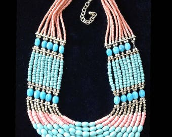 Turquoise & Coral Necklace Nine Strand Beaded Collar
