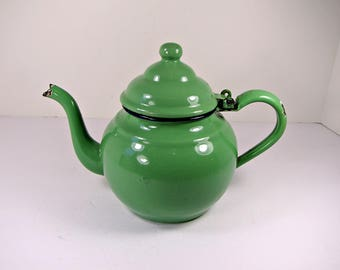 Vintage JADEITE ENAMEL KETTLE Rustic Enamelware Green Kitchen Cooking Tea Coffee