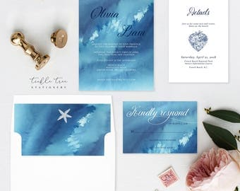 Wedding Invitation Suite, Semi Custom - Ocean Falls (Style 13651)