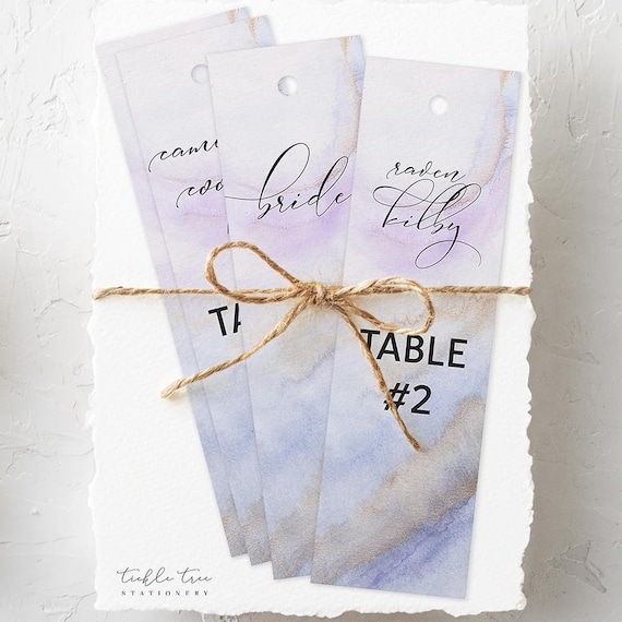 Hanging Bookmarks (Wedding Reception Seating Card) - Purple & Lilac, Precious Stone