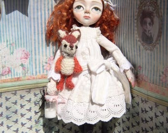 Freya and her fox teddy, a creepy cute A6 postcard